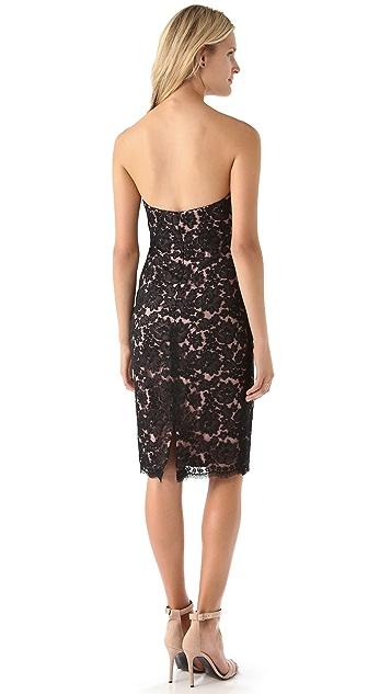 Marchesa Notte Strapless Lace Dress