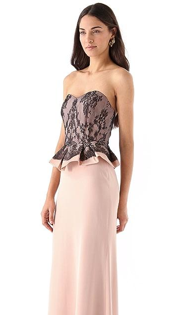 Marchesa Notte Silk Crepe Strapless Dress