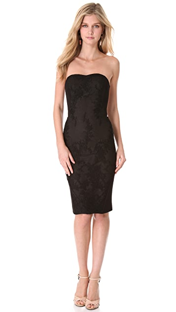 Marchesa Notte Strapless Lace Corset Dress