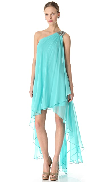 Marchesa Notte Cascade One Shoulder Dress