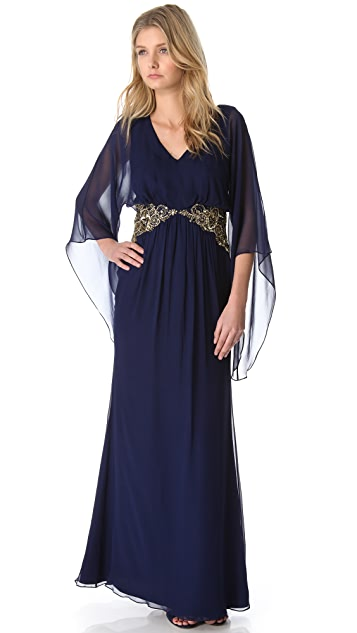 Marchesa Notte Long Sleeve Gown with Beaded Waist