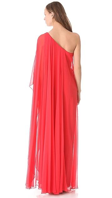 Marchesa Notte One Shoulder Caftan Gown