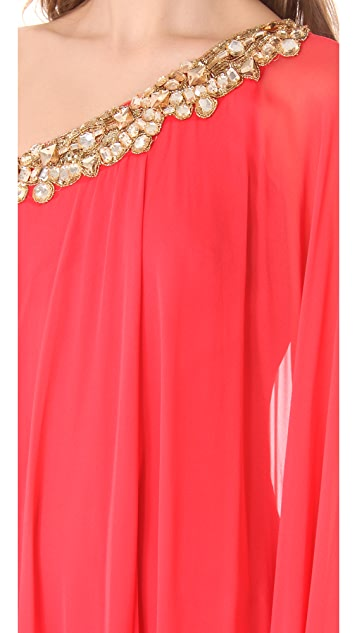 Marchesa Notte One Shoulder Caftan Gown