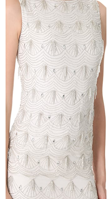 Marchesa Notte Fully Beaded Shift Dress