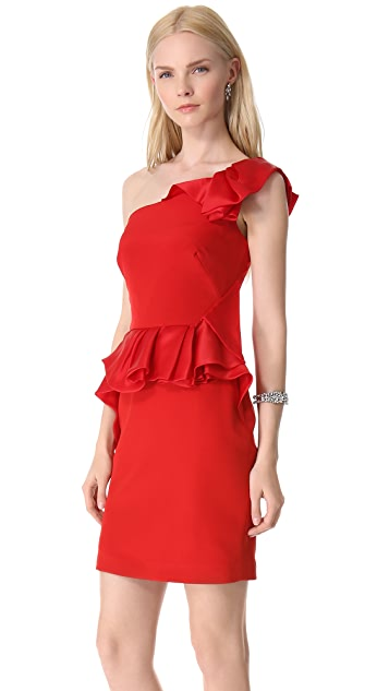Marchesa Notte Crepe One Shoulder Cocktail Dress