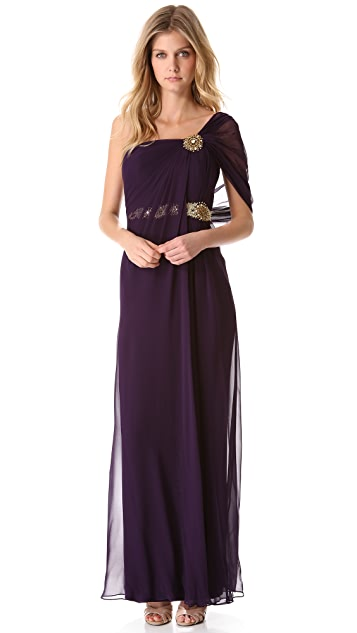 Marchesa Notte Draped One Shoulder Gown