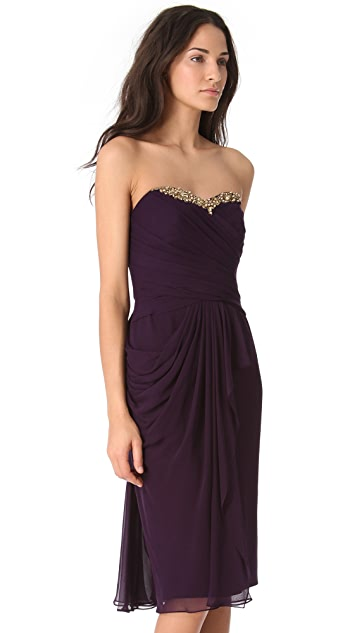 Marchesa Notte Cascade Strapless Dress
