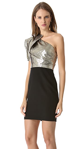 Marchesa Notte Shimmer One Shoulder Dress