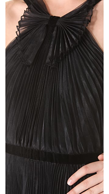 Marchesa Notte Pleated Cocktail Dress
