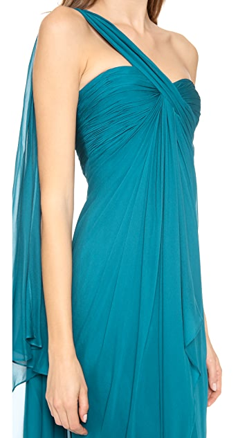 Marchesa Notte One Shoulder Chiffon Gown