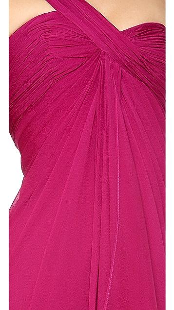 Marchesa Notte One Shoulder Chiffon Gown