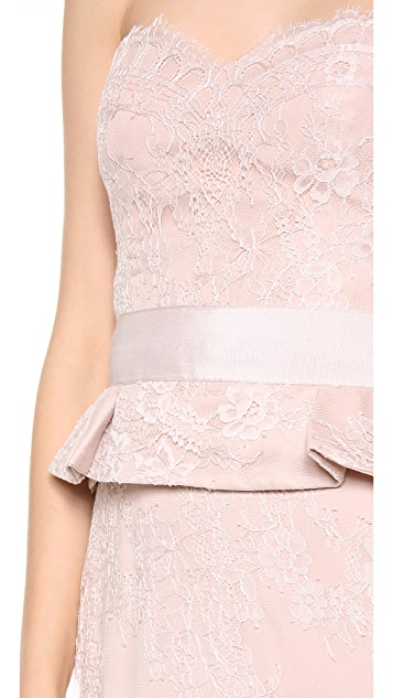 Marchesa Notte Strapless Lace Gown with Peplum