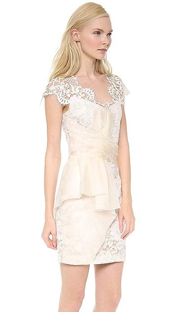 Marchesa Notte Lace Cap Sleeve Cocktail Dress