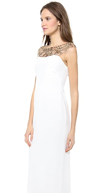 Marchesa Notte Silk Crepe Column Dress