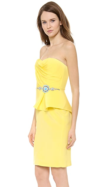 Marchesa Notte Strapless Crepe Cocktail Dress