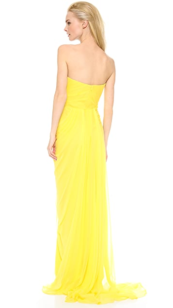 Marchesa Notte Strapless Draped Chiffon Gown