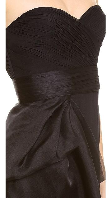 Marchesa Notte Strapless Chiffon Gown