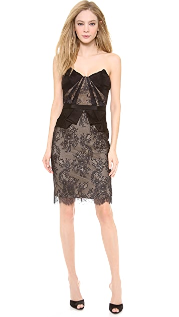 Marchesa Notte Strapless Lace Cocktail Dress