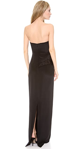 Marchesa Notte Strapless Silk Crepe Gown