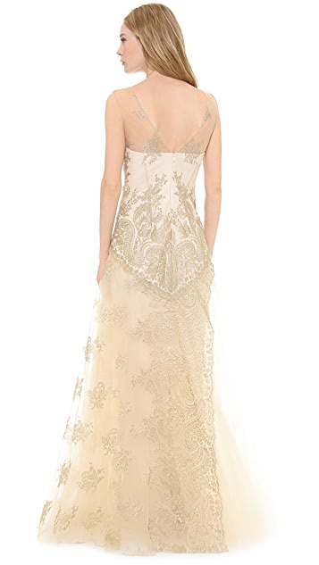 Marchesa Notte Metallic Lace Gown with Tulle Skirt