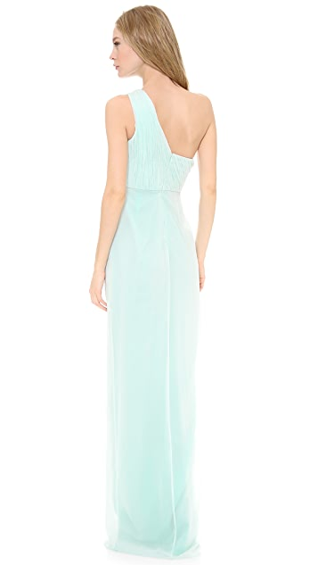 Marchesa Notte One Shoulder Pleated Chiffon Gown