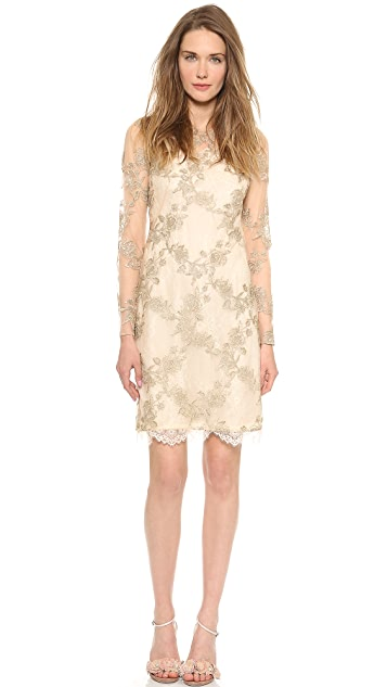 Marchesa Notte Embroidered Tulle Cocktail Dress
