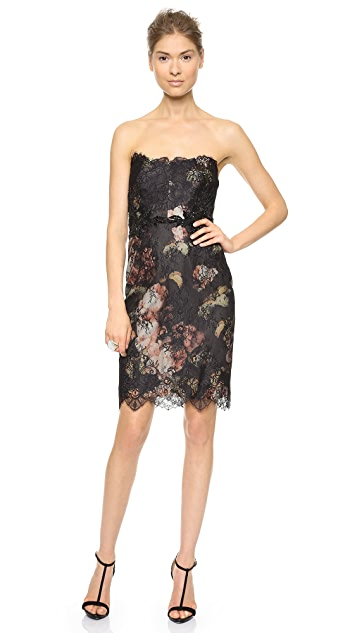 Marchesa Notte Strapless Printed Floral Cocktail Dress