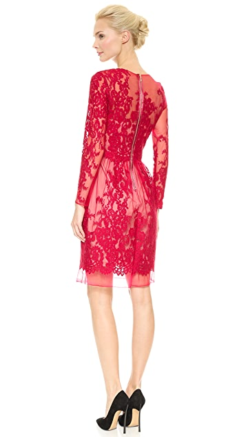 Marchesa Notte Lace Cocktail Dress