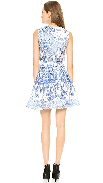 Marchesa Notte Sleeveless Printed Organza Cocktail Dress