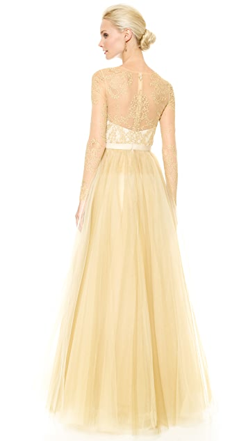 Marchesa Notte Ball Gown with Tulle Skirt