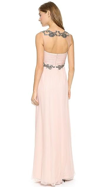 Marchesa Notte Draped Chiffon Gown