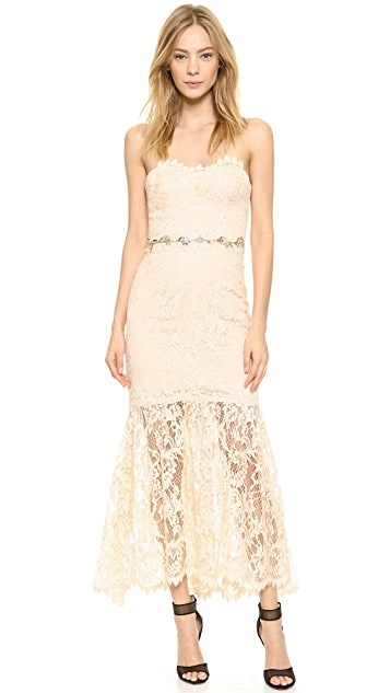 Marchesa Notte Strapless Lace Gown