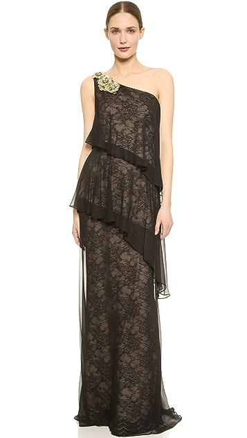 Marchesa Notte One Shoulder Tiered Gown