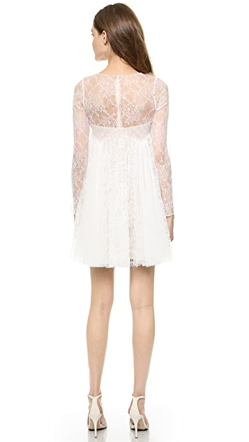 Marchesa Notte Pleated Lace Dress