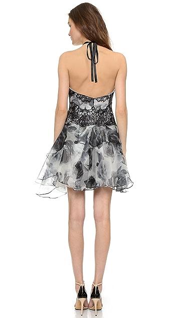 Marchesa Notte Halter Neckline Cocktail Dress