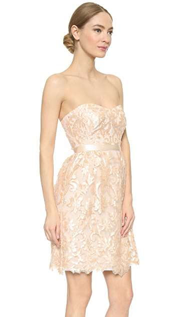 Marchesa Notte Strapless Laser Cut Dress