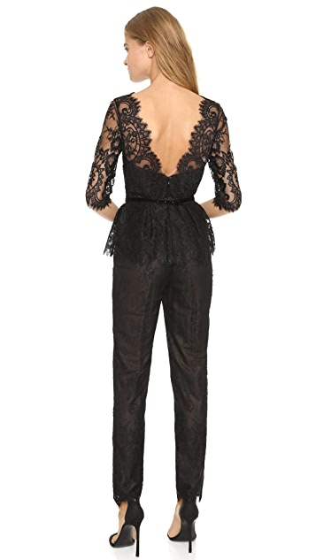 Marchesa Notte V-Neck Lace Jumpsuit