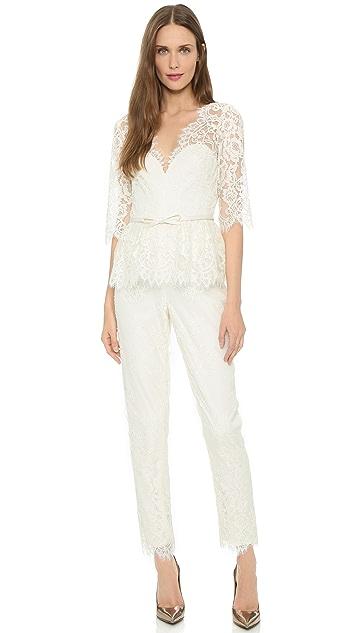 Marchesa Notte V Neck Lace Jumpsuit Shopbop