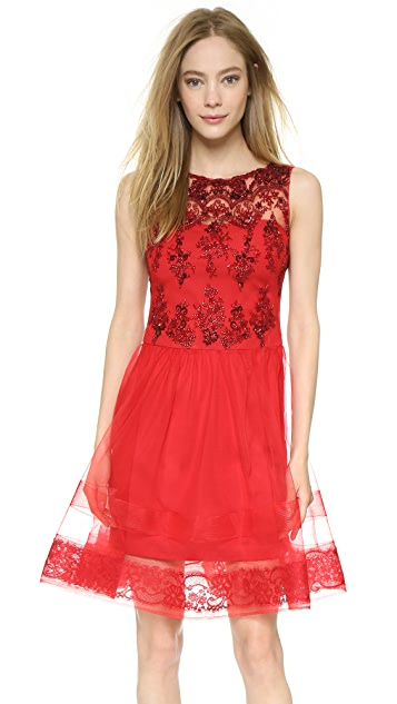 7975accc5e8 Marchesa Notte Sleeveless Lace Cocktail Dress