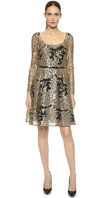 Marchesa Notte Кружевное платье с длинными рукавами