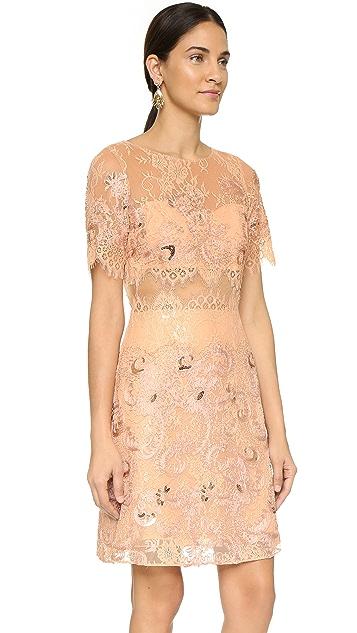 Marchesa Notte Short Sleeve Dress