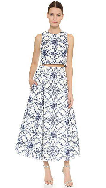 Marchesa Notte Floral Print Crop Top