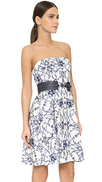 Marchesa Notte Strapless Floral Cocktail
