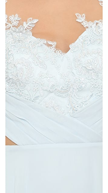 Marchesa Notte Chiffon Gown with Draped Bodice