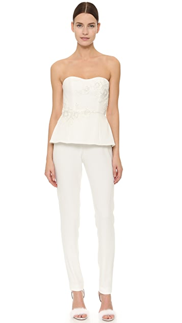 Marchesa Notte Beaded Strapless Jumpsuit