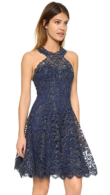 Marchesa Notte Metallic Lace Cocktail Dress