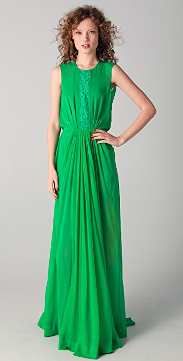 No. 21 Long Gown with Lace Detail