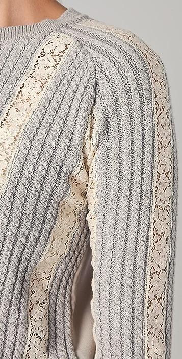 No. 21 Lace Stripe Sweater