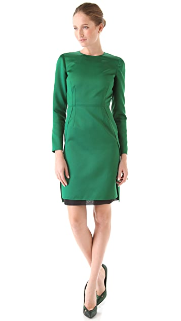 No. 21 Satin Dress with Long Sleeves
