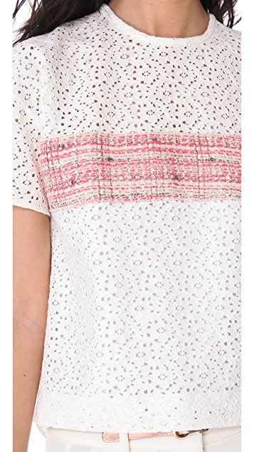 No. 21 Eyelet Lace Top with Tweed Inset